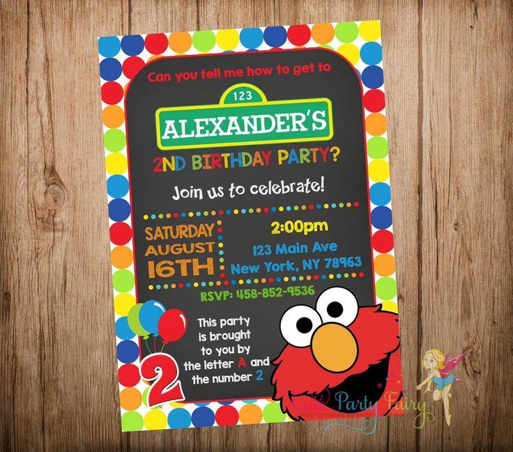 Elmo Birthday Invitation, Sesame Street Invitation, Sesame Street Chalkboard Invitation,Elmo Chalkboard Invitation, Printable Digital File. by CutePartyFairy on Etsy https://www.etsy.com/listing/240734080/elmo-birthday-invitation-sesame-street