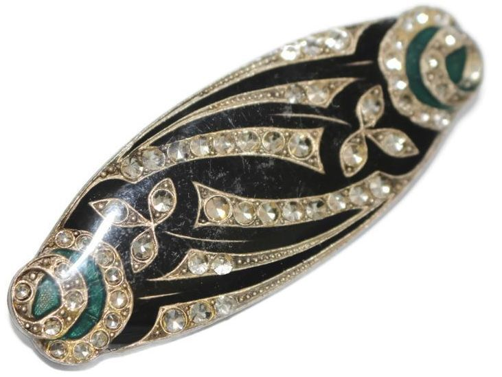 #2922 Art Deco Enamel Rhinestone Catherine Popesco Style Enamel Pin Exclusively at Lee Caplan Vintage Collection on RubyLane