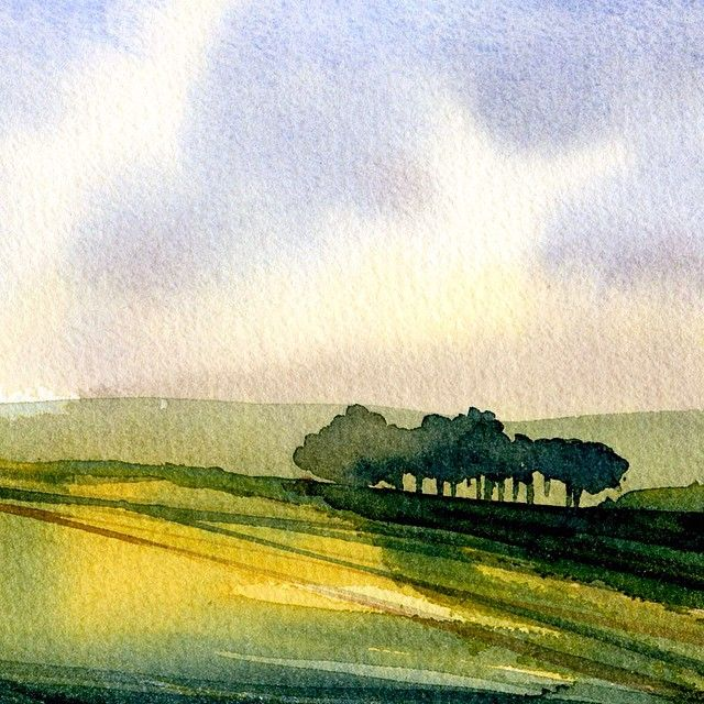 Small watercolor landscape from a couple of years ago. #dongore #dongore50 #watercolor #watercolorsketch #watercolorpainting #painting #art #landscape #flinthills #kansas