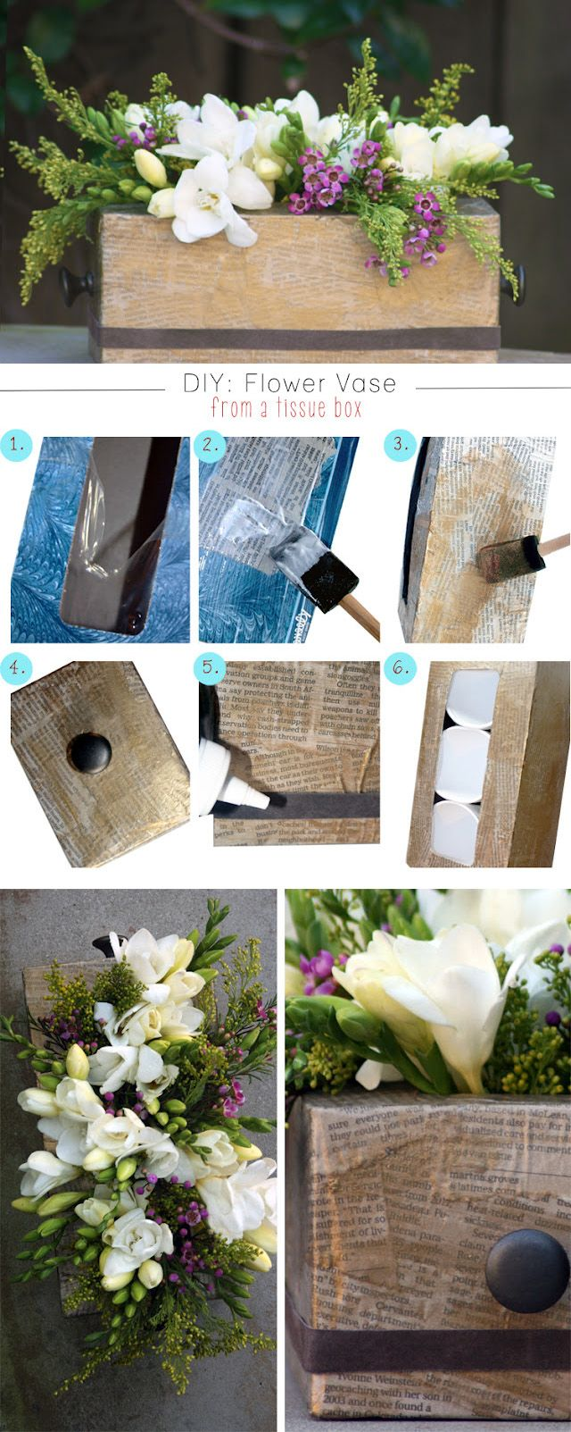 DIY VASES :: DIY Kleenex Box Flower Vase Tutorial from Creme de la Craft :: Use newspaper strips or old book pages. She also attaches 2 knobs on either side of the box to dress it up, securing them with E6000 glue. So cute!