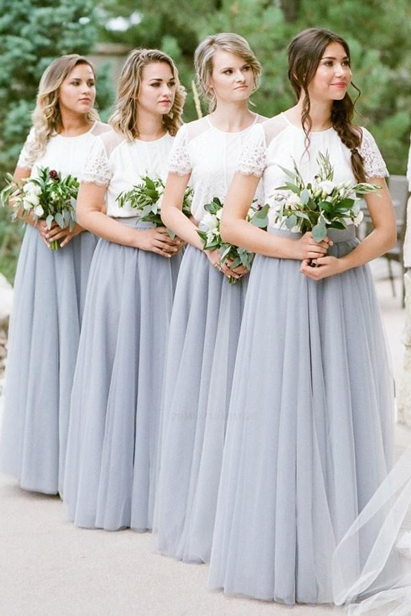 A Line Short Sleeves White Top Gray Long Tulle Bridesmaid Dresses Bridesmaid D Tulle Bridesmaid Dress Pastel Bridesmaid Dresses Bridesmaid Dresses With Sleeves