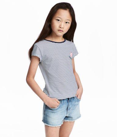 Jerseytop med tryk | Hvid/Mørkeblåstribet | Børn | H&M DK
