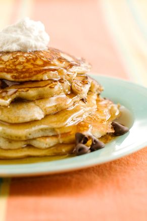 Chocolate Chip Pancakes with Cinnamon Cream breakfast brunch