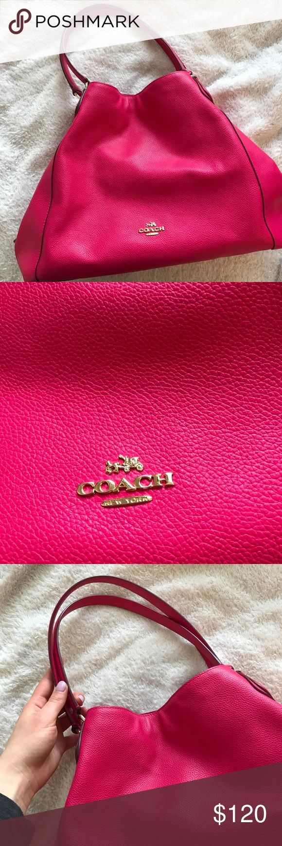Fuchsia Hot Pink Coach Purse Worn a few times but flawless! Large and spacious. Offers welcome. Coach Bags Shoulder Bags