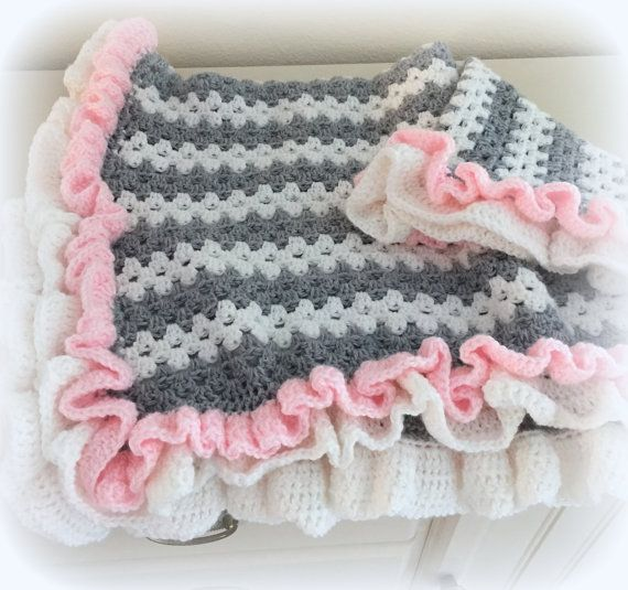 Crochet Baby Blanket Pattern ♥ Little Granny Ruffle  ♥ Crochet baby blanket pattern with beautiful ruffles! Adorable, fast and easy to make with a basic granny stitch.  ♥ Cute stripes and sweet ruffles, change the colors for a baby boy or girl.  ♥The finished size of this blanket is approximately 32 by 35 inches.  ♥ Blanket is made with worsted weight yarn, and uses basic crochet stitches  in American Standard Terms ♥  Pattern by Deborah O'Leary Patterns