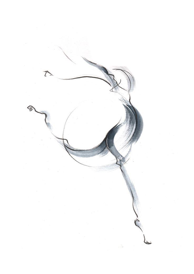 ballet   statement:  많은 제스쳐들을 살펴보고 스케치하는 과정을 통해서  제가 가장 끌리는 동작과 몸짓들을 찾아낼 수 있었습니다. 그 중 발레하는 사람의 곡선이 보이는 듯한 몸짓에서 발견한 선을 그려냈습니다.