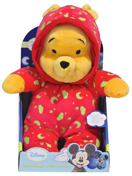 Höyhensaarille vievä Nalle Puh -pehmo on turvallinen ja hauska unikaveri. Punainen pyjama hohtaa pimeään tunnelmallista valoa, ja fosforikuvio latautuu päivän aikana näppärästi auringonvalolla. Pehmon pituus on n. 25 cm.