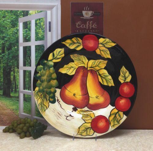 Tuscany-Black-Decor-Winter-Fruit-Serving-Platter-Rare-Tuscan-Dish-Elegant-Gift
