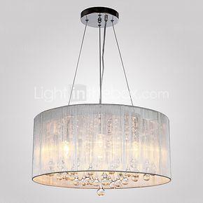 Max 40W Moderno / Contemporáneo / Tambor Cristal Galvanizado Metal Lámparas Colgantes Sala de estar / Dormitorio 2016 - $3160.11