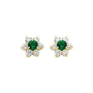 14K Yellow Gold May CZ Birthstone Flower Stud Earrings for Baby and Children (Emerald, Green) The World Jewelry Center. $52.00. Promptly Packaged with Free Gift Box and Gift Bag