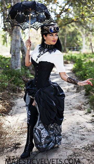 Steampunk Victorian Black Satin Corset w Double Bustle Silver Charcoal Damask Skirt
