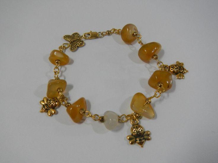 Honey Bracelet Amber Single Copy Bijou by Veggyland on Etsy