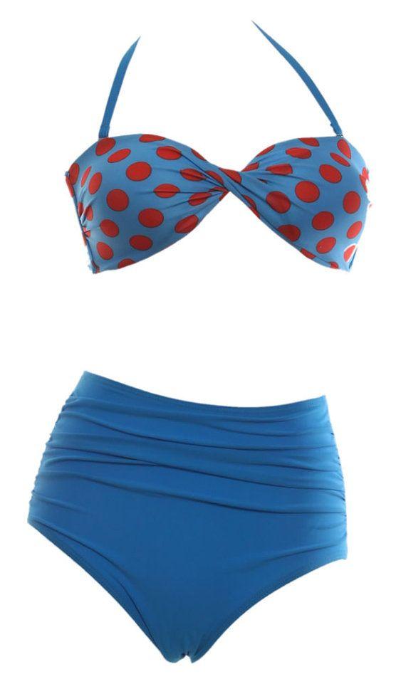 Hot Dot swimsuit high waist swimwear padded retro by sexybikini