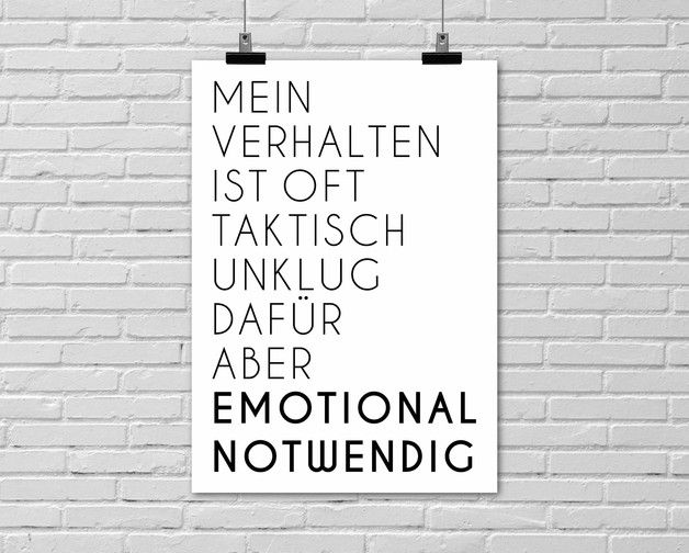 "Typo Poster ""Emotional Notwendig"" / typo artprint, fun words by Einsaushundert via DaWanda.com"