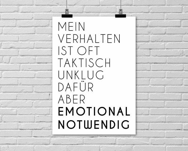 "Typo Poster ""Emotional Notwendig"" / typo artprint, fun words by Einsaushundert via DaWanda.com"