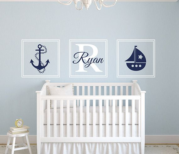 Add some nautical flair to your little sailor's nursery with this customizable nautical name wall decal. The wall decal features a row of three square frames.