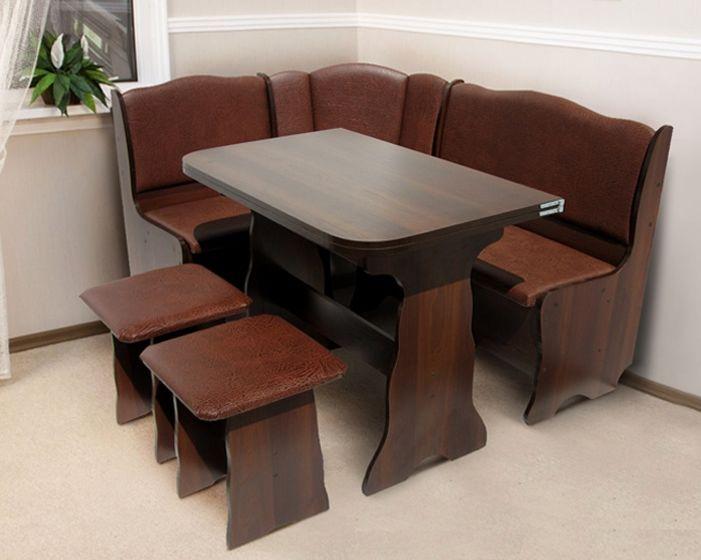 обеденный Комплект кухонной мебели уголок Гармония 1 стол раскладной 2 стула цвет шоколад, медовый, материал ДСП, кожзам, бесплатно доставка по Украине