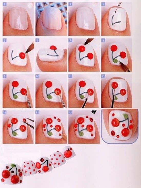 Tutorial para decorar tus uñas con cerezas - http://xn--decorandouas-jhb.com/tutorial-para-decorar-tus-unas-con-cerezas/