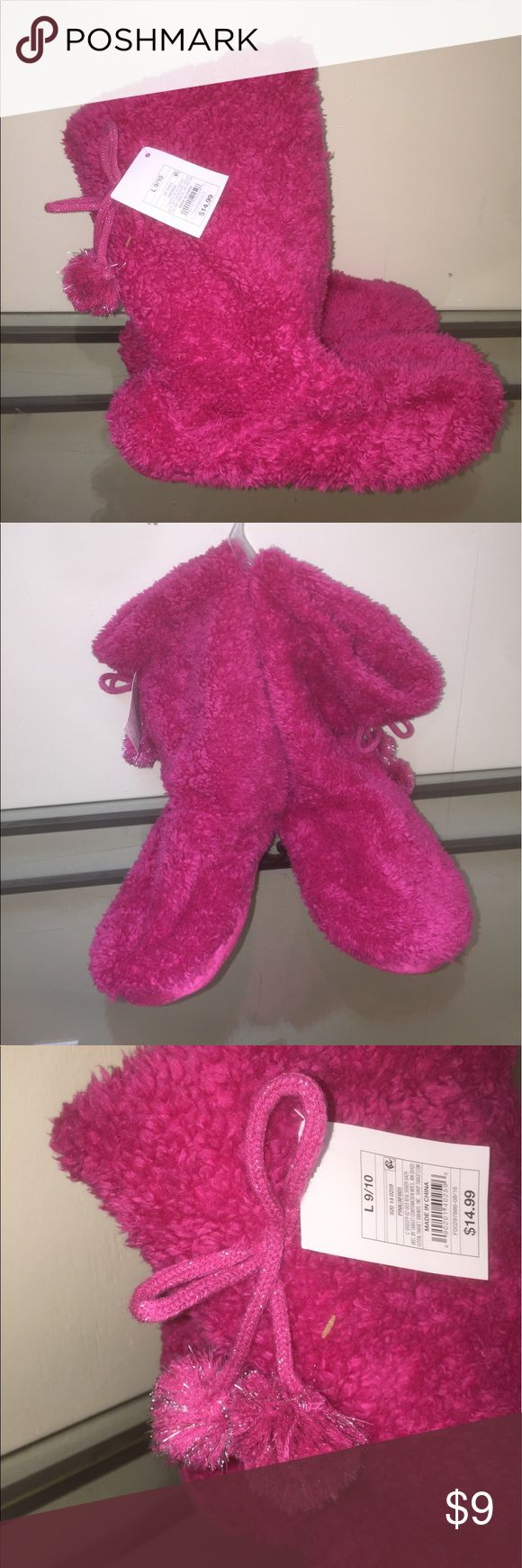 Pink Fuzzy Boots This are super cute & warm for winter!!! NWT Xhilaration Shoes Slippers