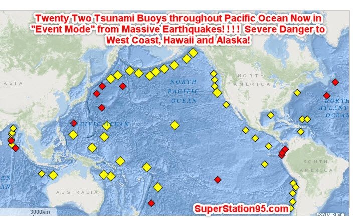 "Very strong earthquakes off California and off the Solomon Islands near Australia have triggered a vast array of Tsunami Warning Buoys in the Pacific Ocean into ""ALERT MODE"" indicating Tsunami Waves are traveling through the ocean toward coastlines of Hawaii, Alaska, The west coast of North America as well as toward Australia, New Zealand and …"