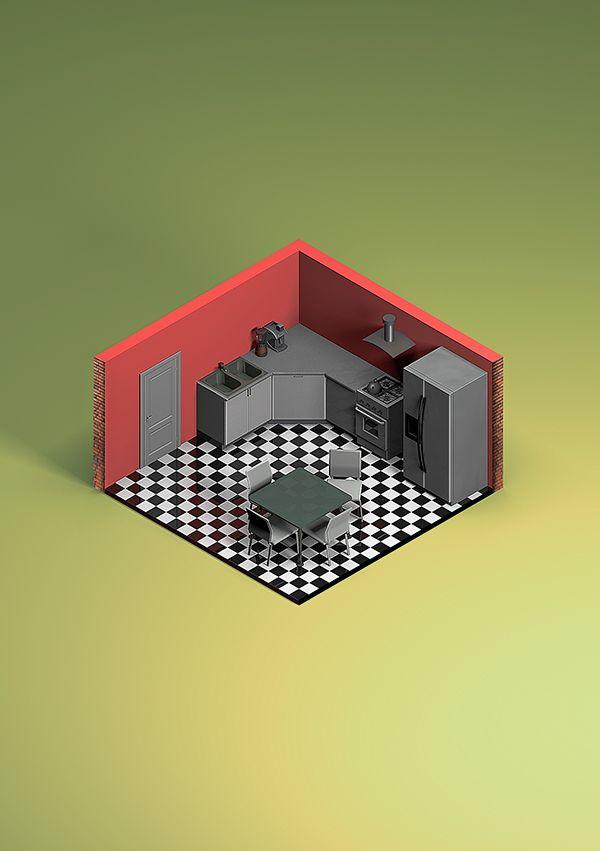 isometric room on Behance
