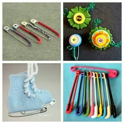 Safety pin crafts kids crafts activities pinterest for Safety pins for crafts