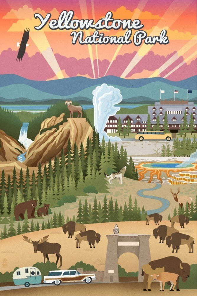 Yellowstone National Park Travel Poster Yellowstone Affiliate National Park Posters Travel Posters National Parks