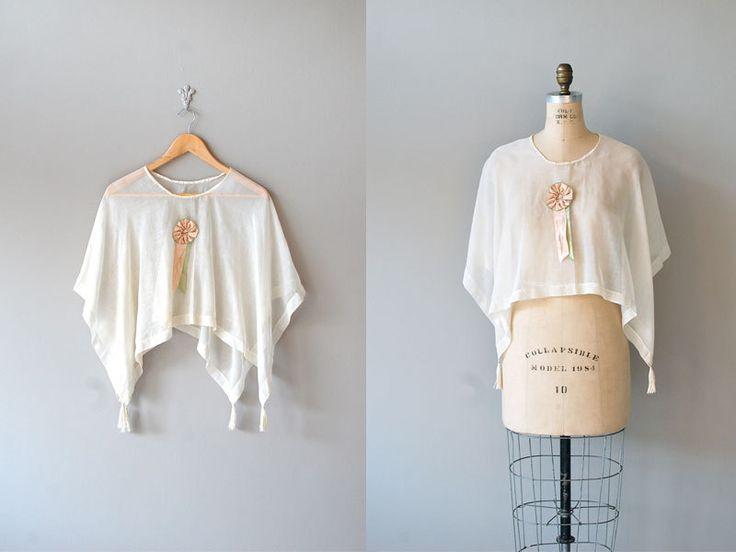 1920s blouse / sheer blouse / 20s clothing / Batiste Capelet.