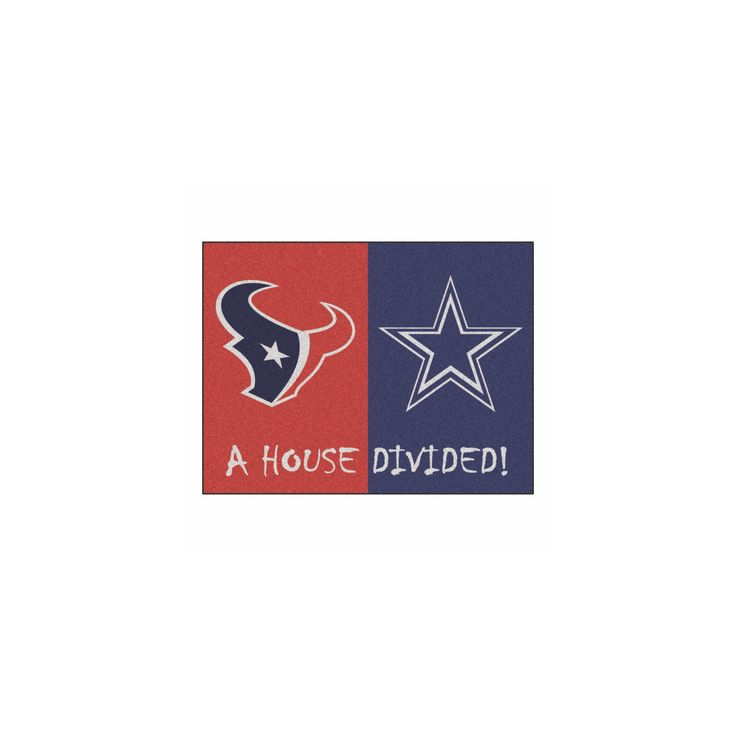"NFL Houston Texans/Dallas Cowboys House Divided Rug 33.75""x42.5"""