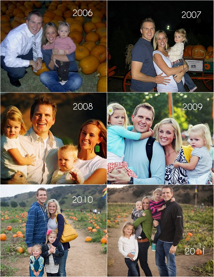 Take a picture during a family tradition each year (like the pumpkin patch!)