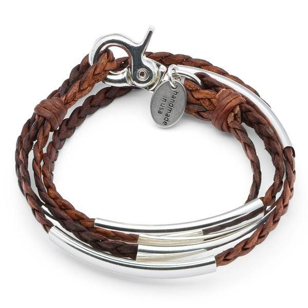 Lizzy James Mini Addison Wrap Bracelet in Braided Natural Antique Brown Leather - Medium