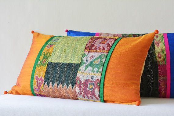 Orange Patchwork Pillow with Vintage Sari Hand stitched Kantha & Dupioni Silk , Decorative Pillow , Lumbar Pillow, Vintage Kantha Cushion #