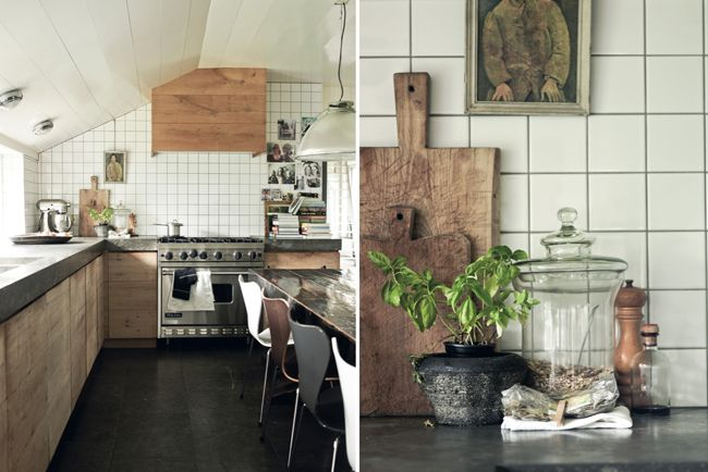 natural timber kitchen - stone benchtop - simple white tiles
