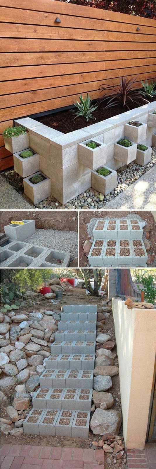 Steps  – Build outdoor steps with cinder blocks, then fill in the holes with small pebbles to ensure nobody sprains an ankle by tripping...