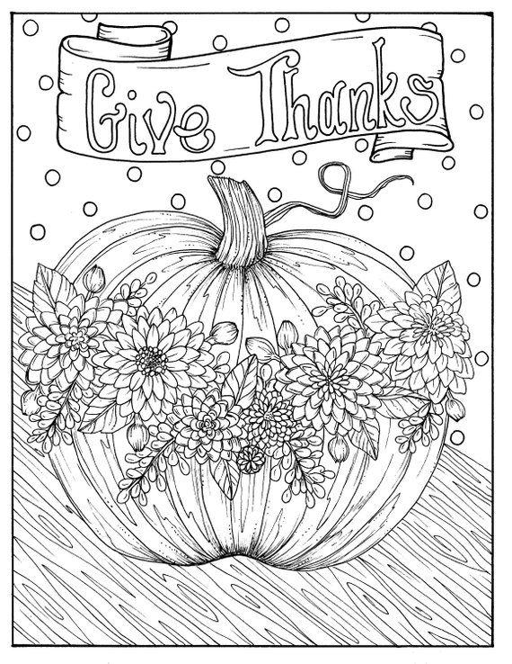 Give Thanks Digital Coloring Page Thanksgiving Harvest Holiday