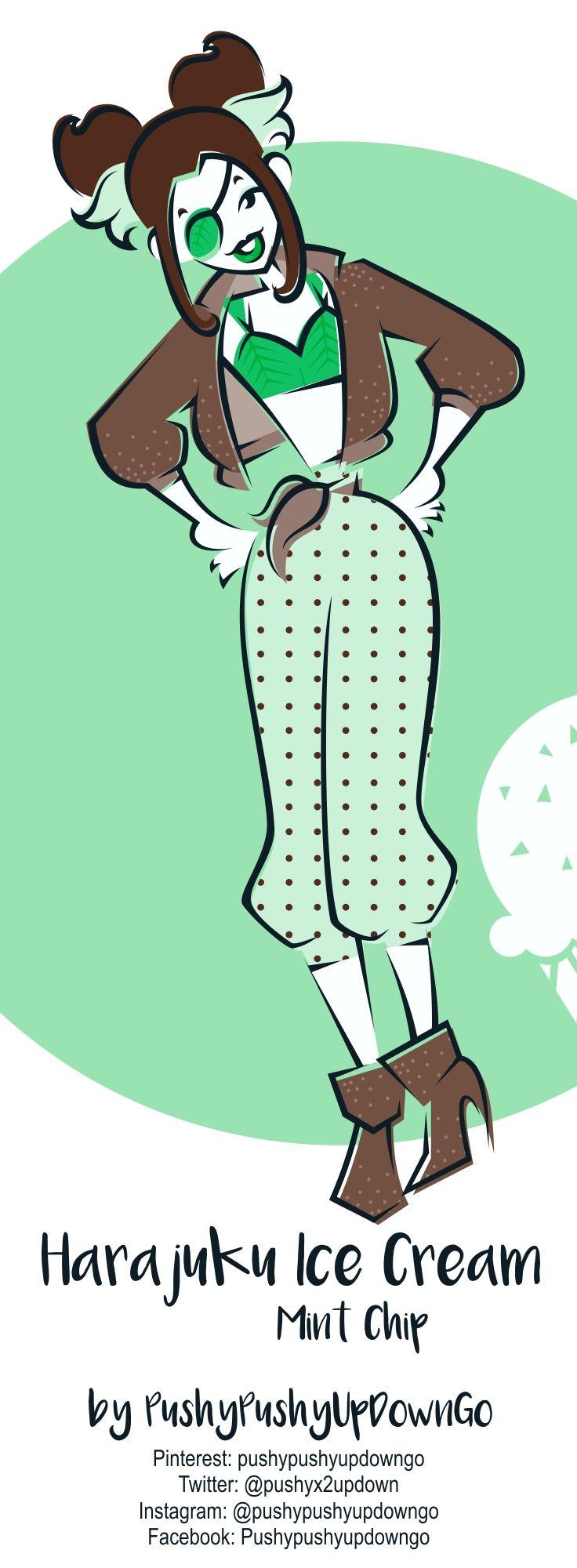 From my Harajuku Ice Cream kawaii fashion illustration series (available as part of a 8-piece postcard art print set)
