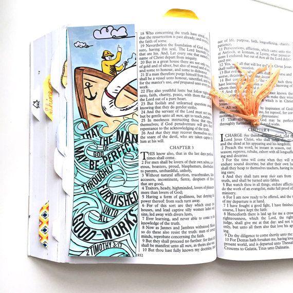 2 Timothy 3:17  Bible Journaling Bible Verse Art Bible Verse Print by SewBitandCo