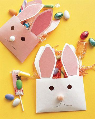 Lavoretti di Pasqua buste a forma di coniglio