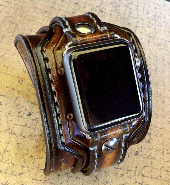 Apple Watch Cuff apple watch strap Brown by CuckooNestArtStudio