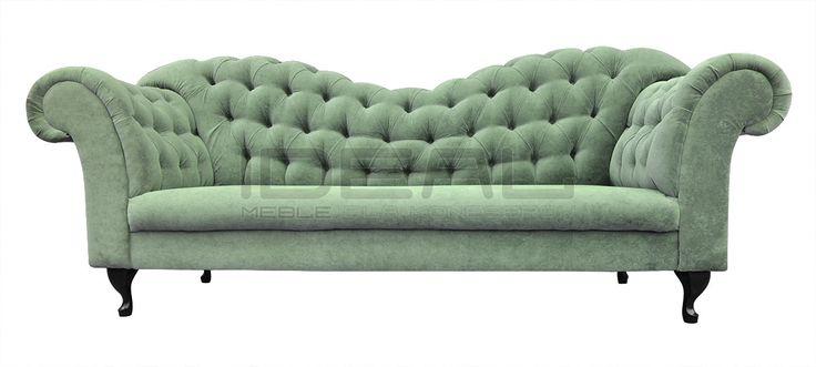 Sofy Stylowe - Sofa Chesterfield Morland Ludwik - IdealMeble sofa chesterfield, zielona sofa, styl angielski, green, mint, miętowa, pastelowa