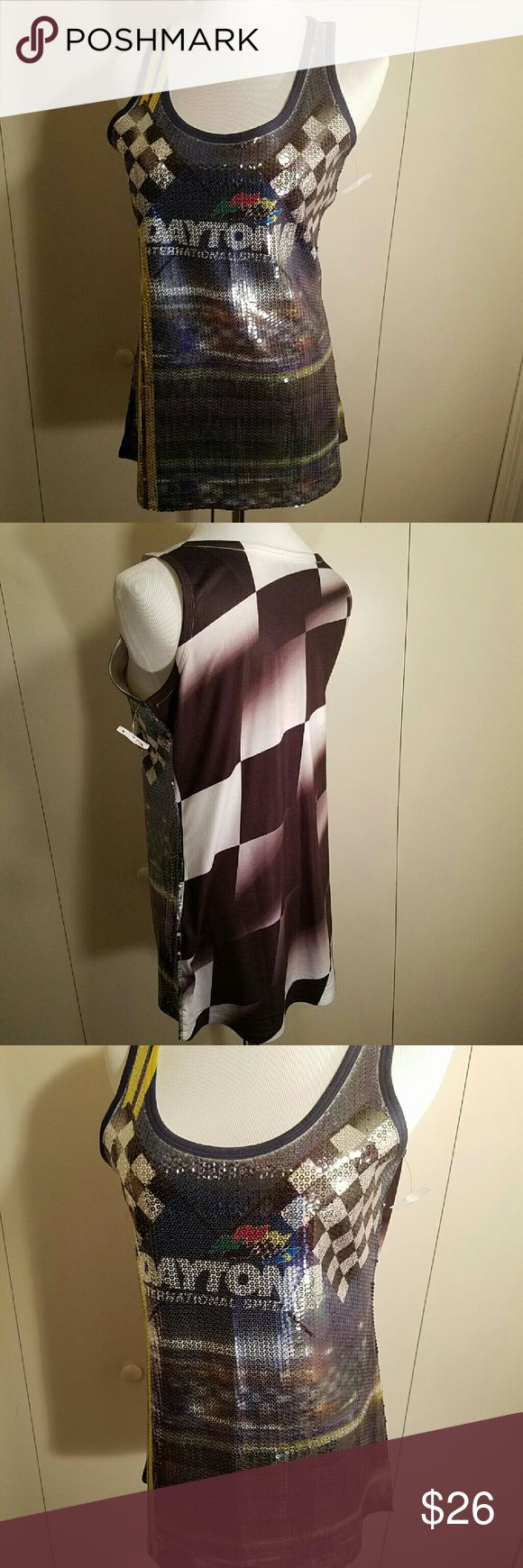 NWT: Gift ALERT! Daytona sequin Tank top Perfect Christmas gift for your race fan.  Sequin front tank top with Daytona logo on front and checkered flag printed on back. Tag is attached but price is torn off. Citi life Tops