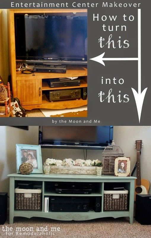 Turn an old entertainment center into a TV console table   The Moon and Me featured on Remodelaholic