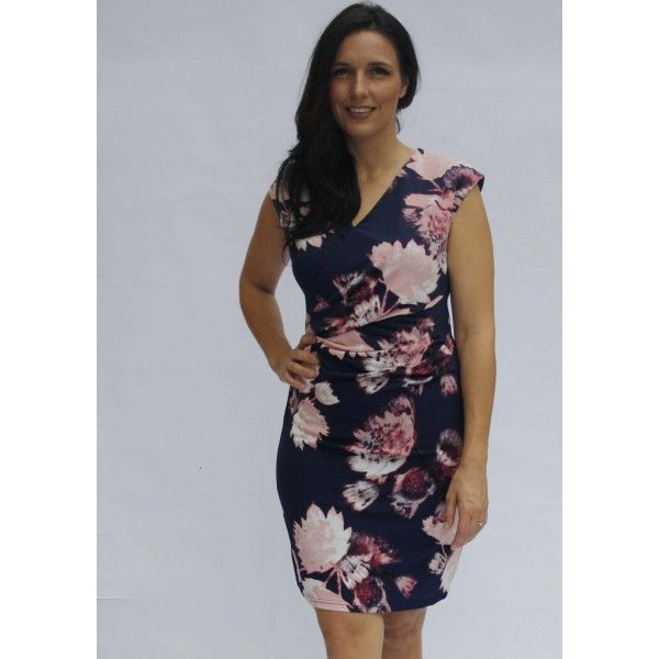 Xylia Floral Faux wrap Day Dress