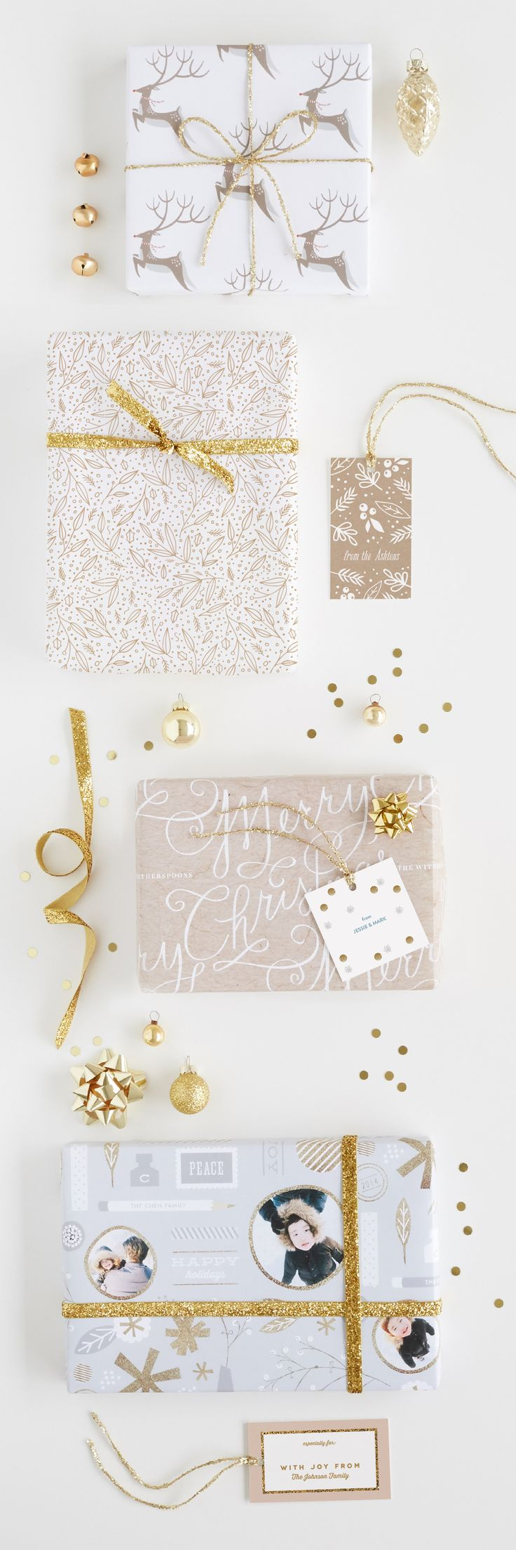 Gold Holiday Gift Wrap Inspiration. Get you full gift wrap guide on Minted.com