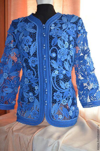 Пиджаки, жакеты ручной работы. Ярмарка Мастеров - ручная работа. Купить Васильковая мечта. Handmade. Разноцветный, одежда для женщин