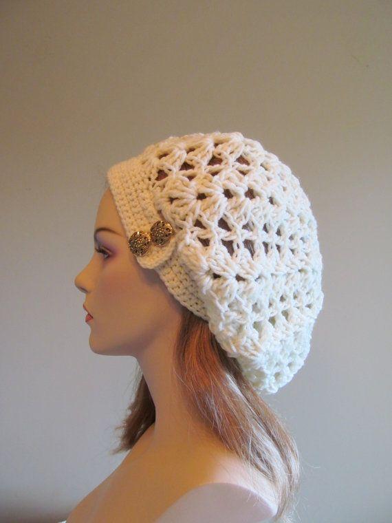 Baggy Beanie Hat Crochet Pattern : Slouchy Spring Beret Beanie Womens Mesh Lace Crochet ...