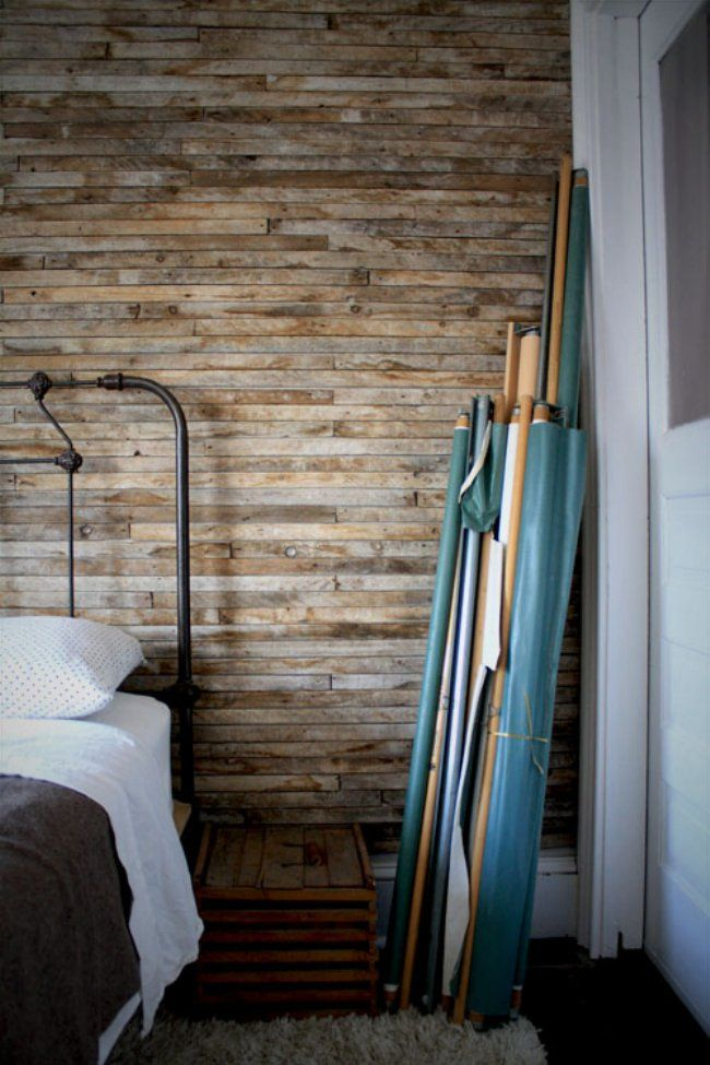 Wood pallet wall interiors ideas pinterest for Reclaimed pallet wood wall