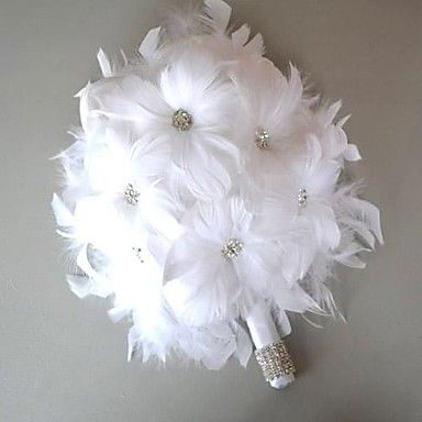 Nice Sweet Day White Feather Bridal Wedding Bouquet FP-501 - USD $ 13.99