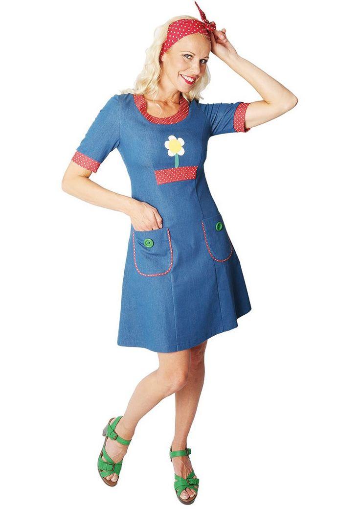 Skøn retro Siri S Design kjole Daisy Denim 14