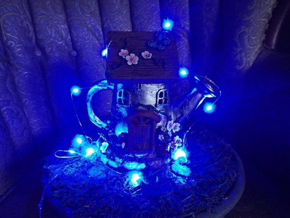 Battery Operated Led Lights For Miniature Fairy Garden Terrarium Mini In Blue Tiny Craft Supplies Decorations
